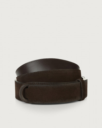 Cloudy suede and leather Nobuckle belt