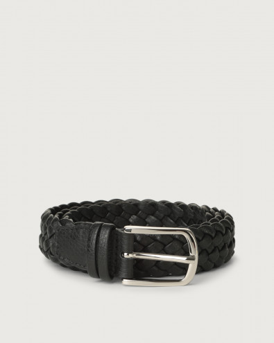 Micron braided leather belt