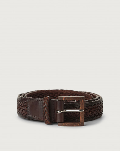 Masculine leather belt with wooden buckle