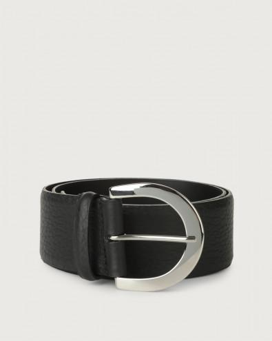 Soft high waist leather belt with palladium buckle