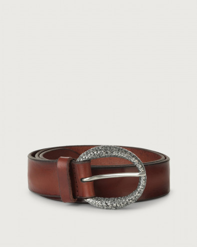 Bull Soft leather belt with monogram buckle