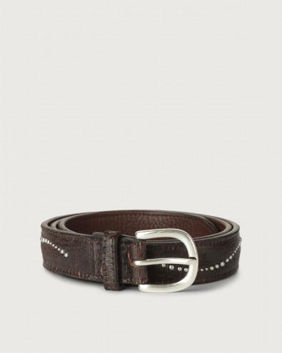 Cutting micro-studs leather belt
