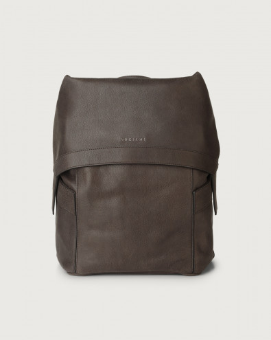 Chevrette leather backpack with flap