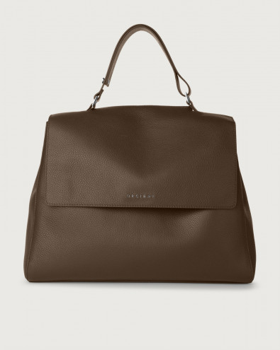 Sveva Micron large leather shoulder bag with strap