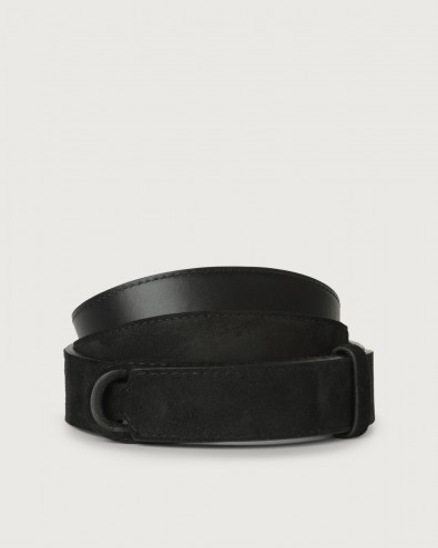 Camoscio suede and leather Nobuckle belt