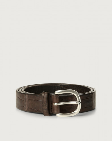 Cocco Coda Color crocodile leather belt