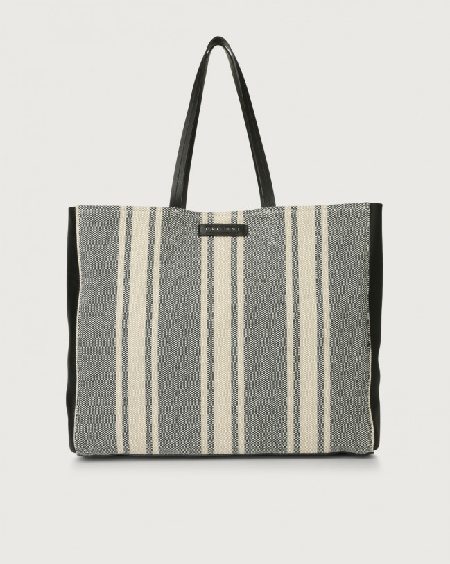 Orciani Le Sac Canvas fabric and leather tote bag Leather & cotton Blue