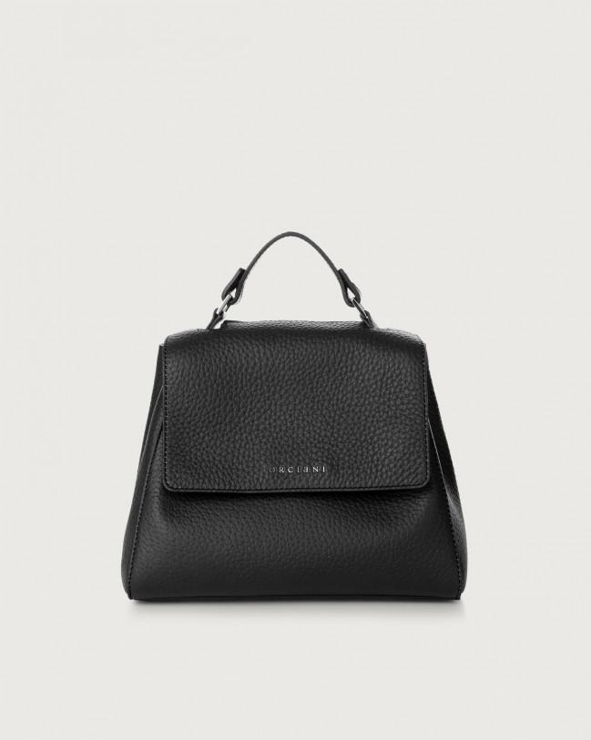 Orciani Sveva Soft small leather handbag with strap Leather Black