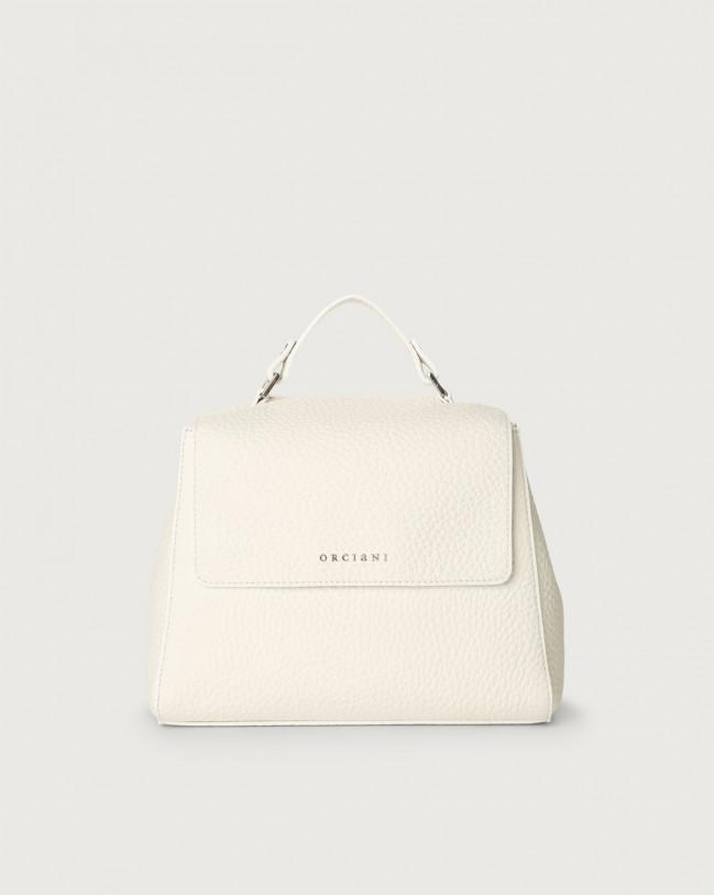 Orciani Sveva Soft small leather handbag with strap Leather White