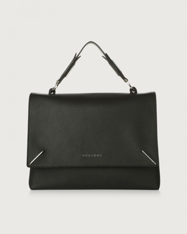 Orciani Kate Micron leather handbag with double flat Leather Black