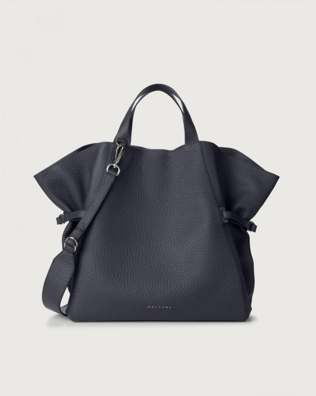 Orciani Fan Soft large leather handbag Leather Navy