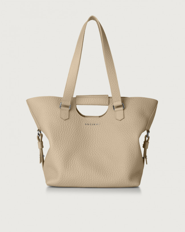 Orciani Isotta Soft leather shoulder bag Leather Sand