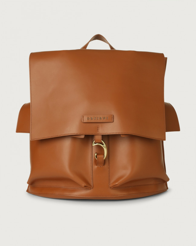 Orciani Scout Piuma leather backpack Leather Cognac