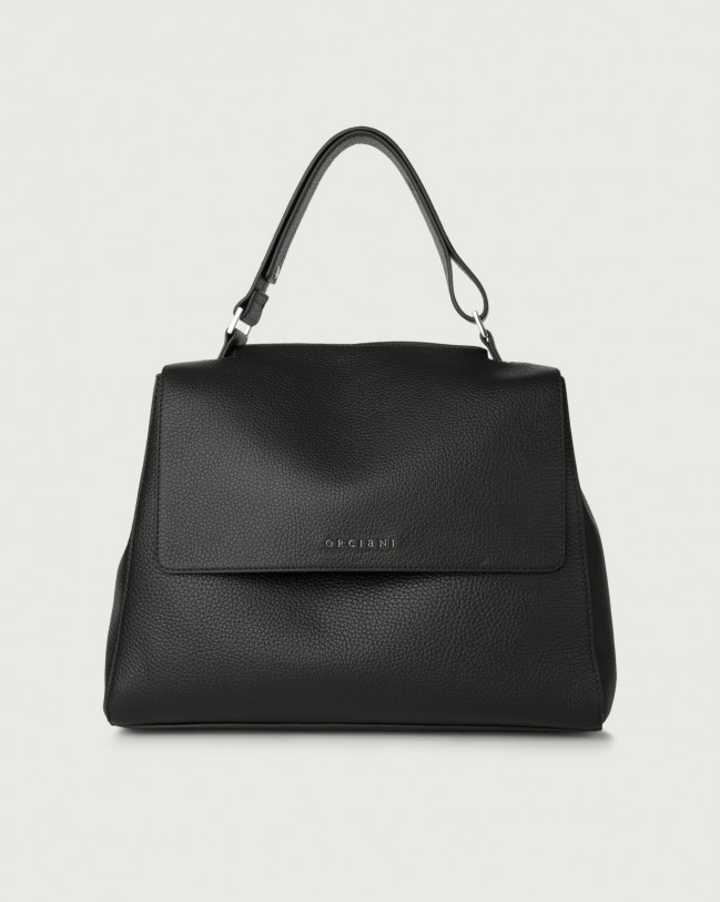 Orciani Sveva Micron medium leather shoulder bag with strap Leather Black