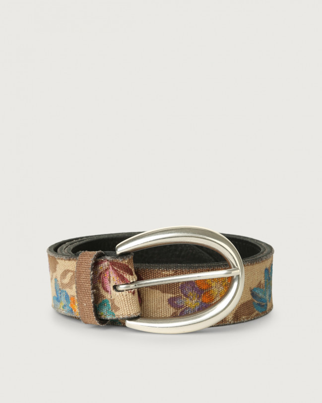 Orciani Tye Flower fabric and leather belt Unique
