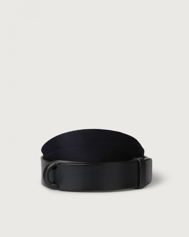 Orciani Leather and fabric Bull Nobuckle belt Leather & fabric Blue