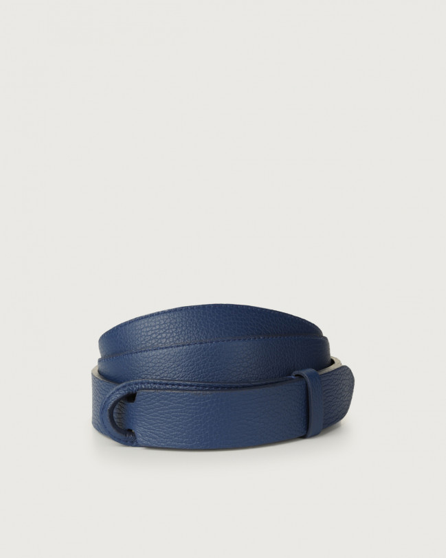 Orciani Micron leather Nobuckle belt Leather Blue