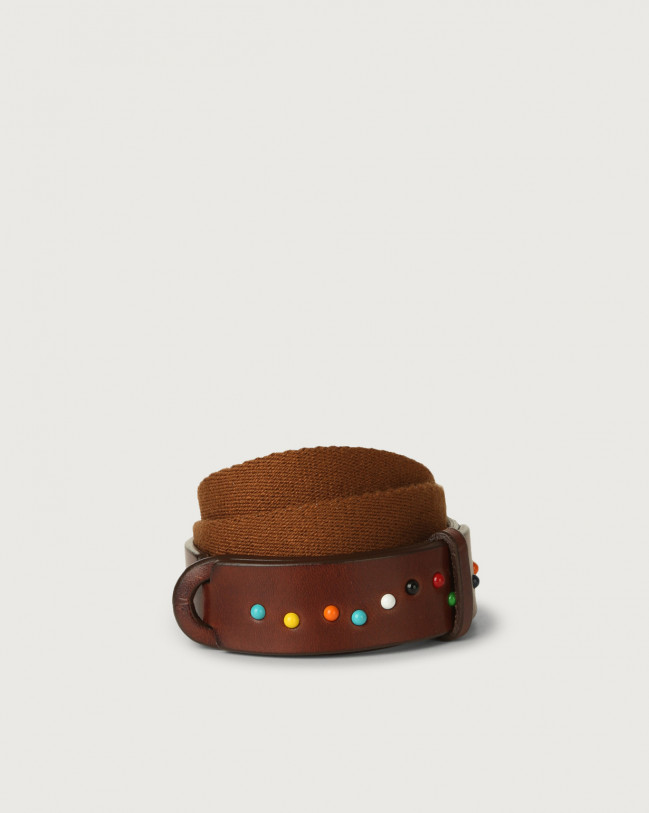 Orciani Point Color leather and fabric Nobuckle Kids belt with micro-studs Leather & fabric Burnt