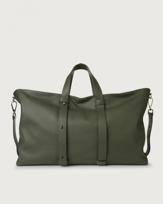 Orciani Micron large leather weekender bag Leather Olive Green
