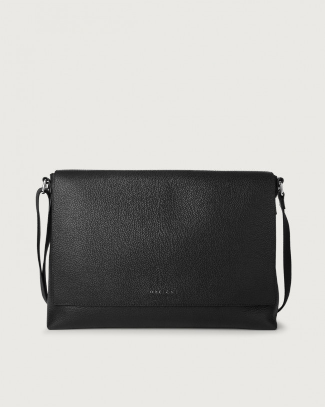 Orciani Micron leather messenger bag Leather Black