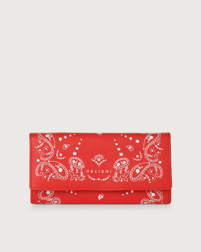 Orciani Bandanas leather envelope wallet Embossed leather Red