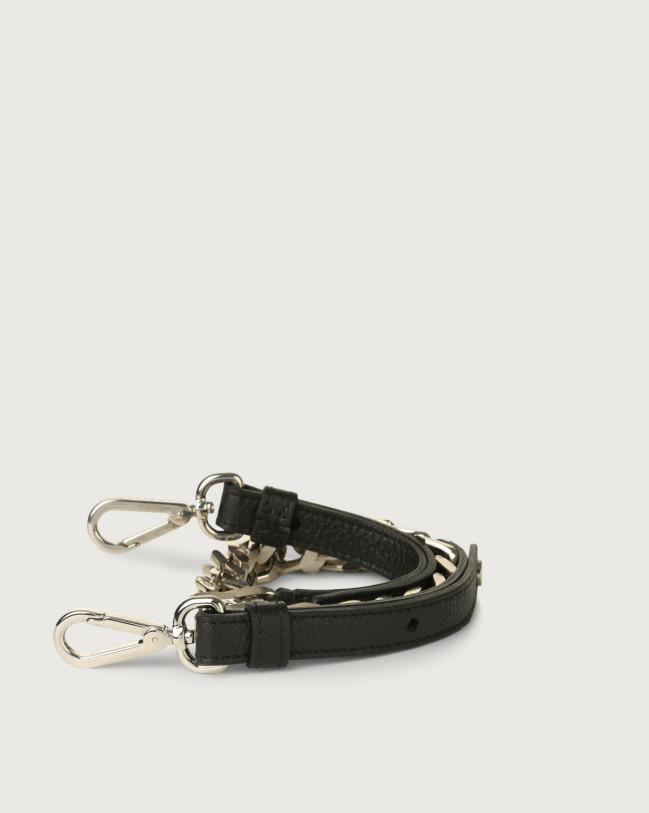 Orciani Micron chain and leather strap with micro-studs Leather Black