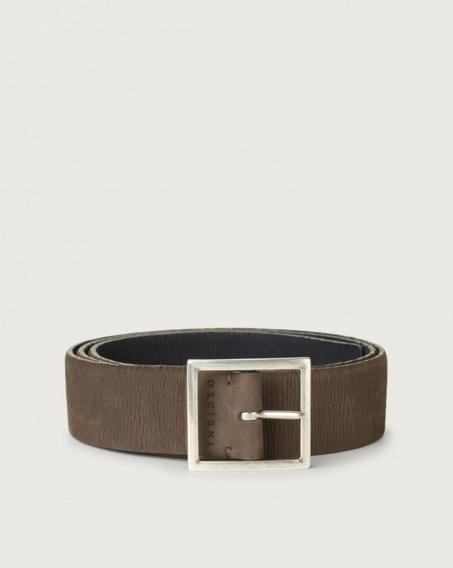 Orciani Long Beach Double reversible stretch leather belt Nabuck Grey+Blue