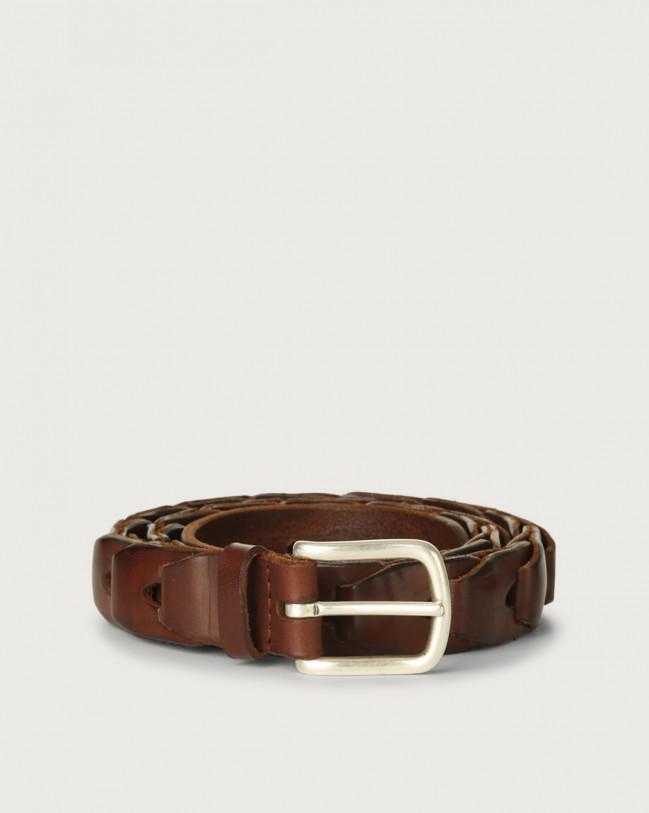 Orciani Bull Soft chain like leather belt 3 cm Leather Burnt