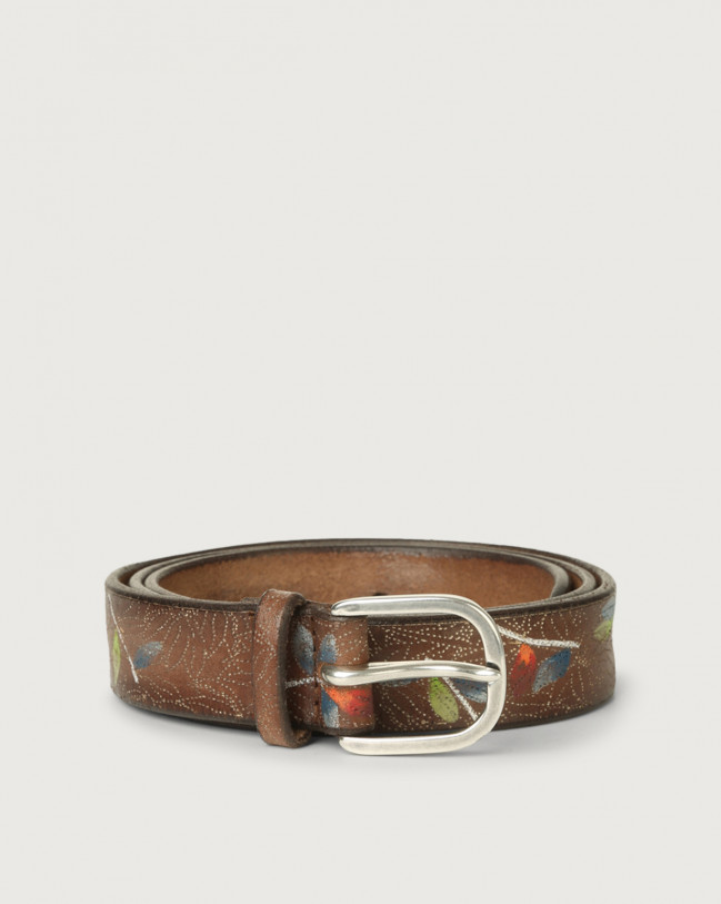 Orciani Bamboo leather belt Leather Cognac