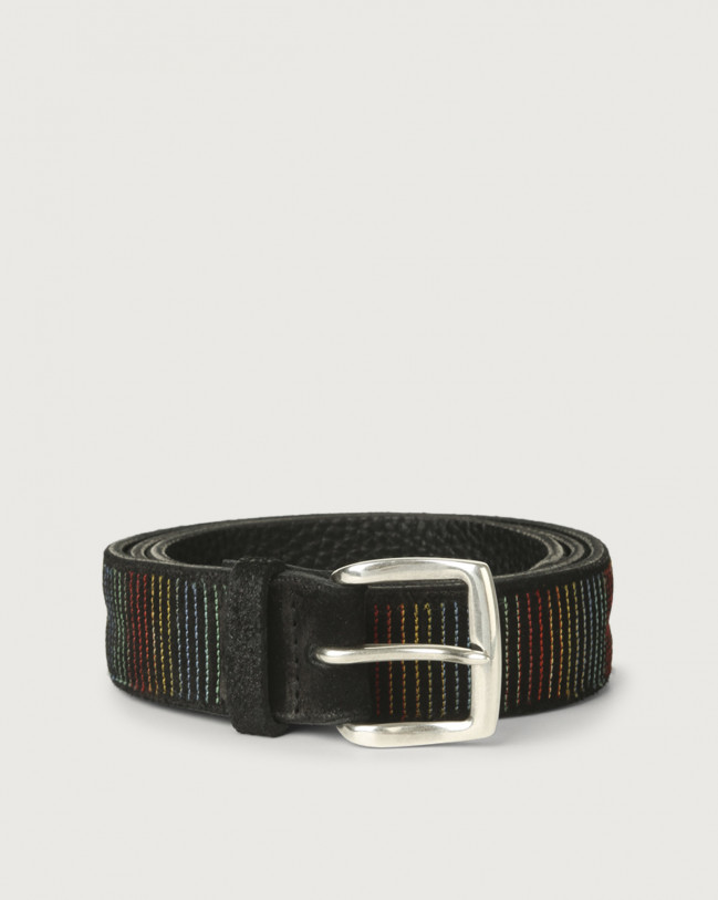 Orciani Cloudy Stripe suede leather belt Suede Black