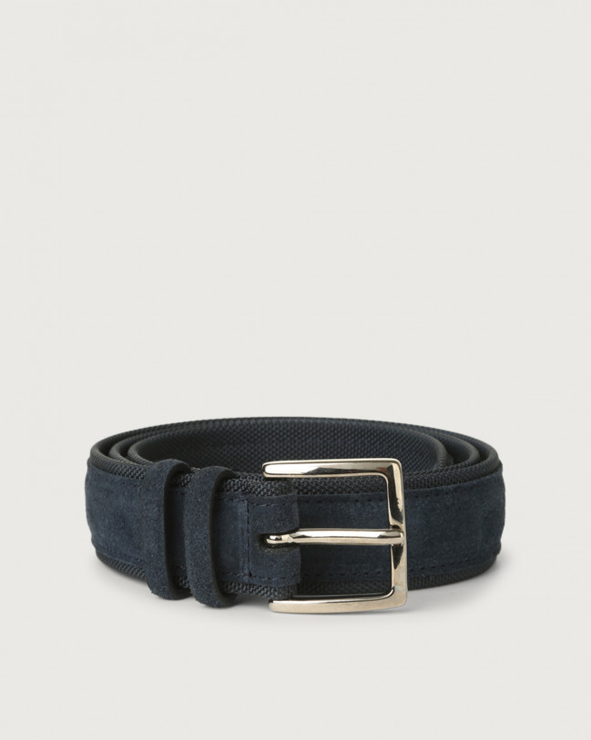 Orciani Amalfi Active suede and fabric belt Suede Deep Blue+Blue