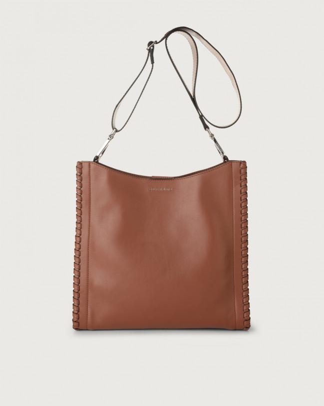 Orciani Iris Liberty Mesh leather crossbody bag Leather Cognac