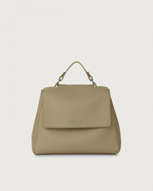 Orciani Sveva Soft small leather handbag with strap Leather Kaki