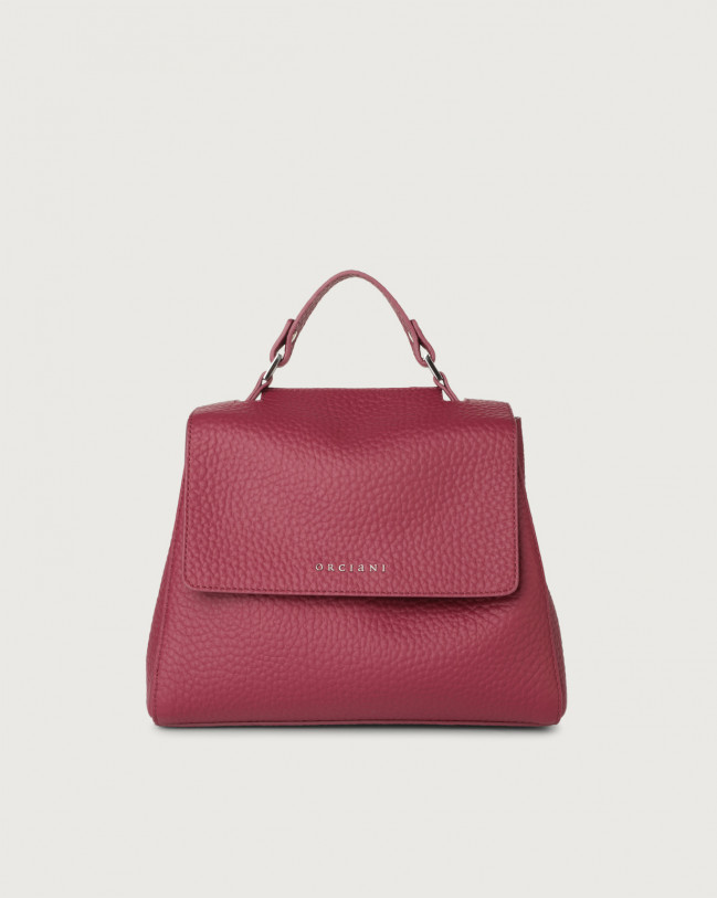 Orciani Sveva Soft small leather handbag with strap Leather Purple