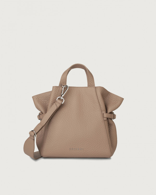 Orciani Fan Soft small leather handbag Leather Taupe