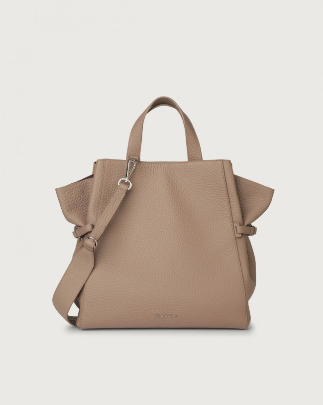 Orciani Fan Soft large leather handbag Leather Taupe