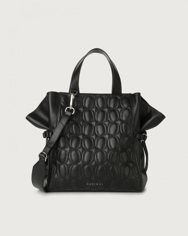 Orciani Fan Matelassé medium leather handbag Leather Black