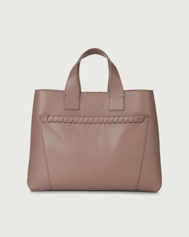 Orciani Nora Liberty large leather handbag Leather Pink taupe