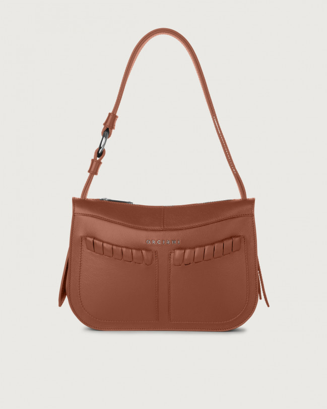 Orciani Ginger Liberty small leather shoulder bag Leather Cognac