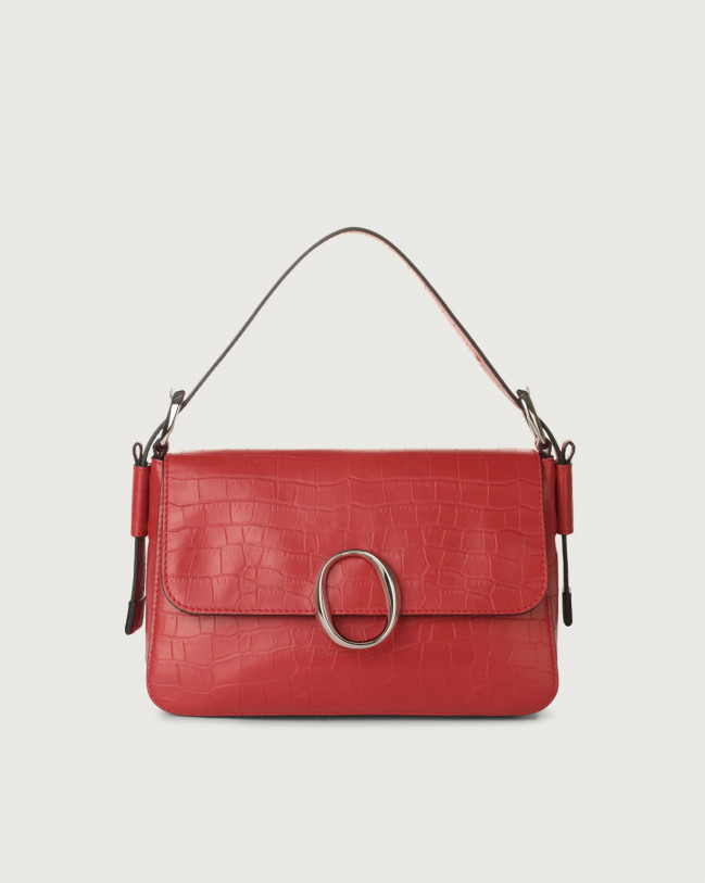 Orciani Soho Grace croc-effect leather baguette bag with strap Embossed leather Red