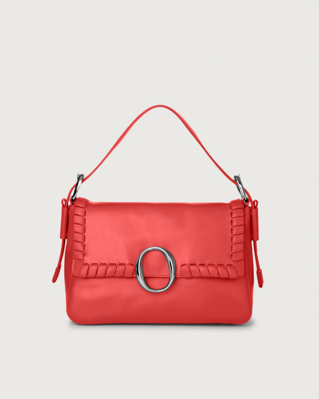Orciani Soho Liberty leather baguette bag with strap Leather Red