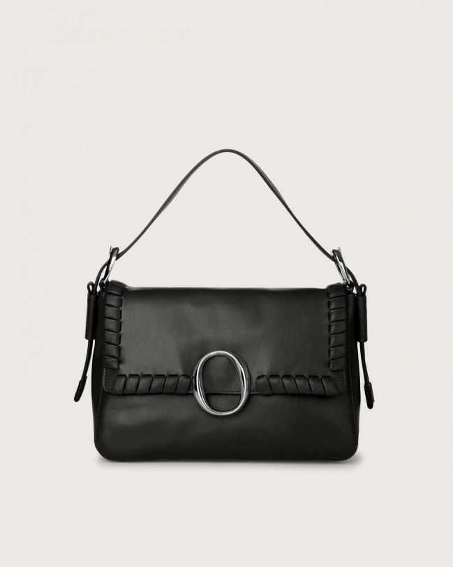 Orciani Soho Liberty leather baguette bag with strap Leather Black