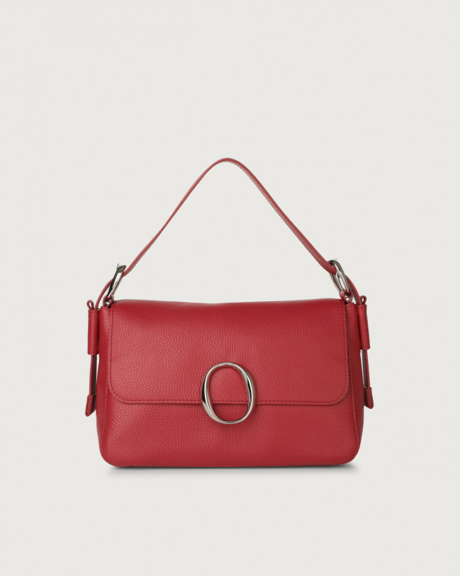 Orciani Soho Micron leather baguette bag with strap Leather Ruby red