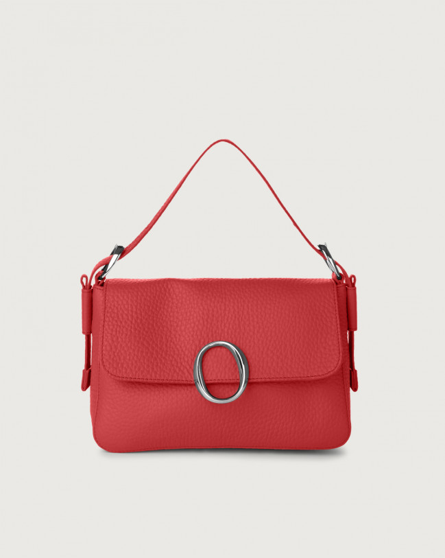 Orciani Soho Soft leather baguette bag with strap Leather Marlboro red
