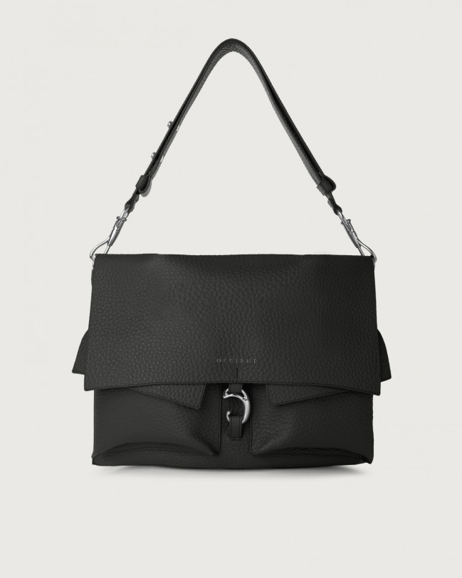 Orciani Scout Soft leather shoulder bag Leather Black