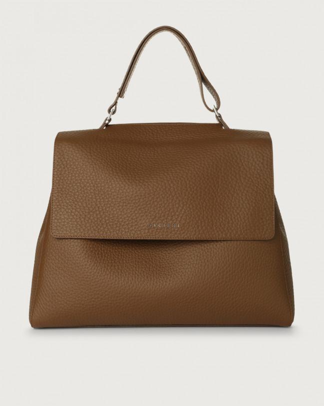 Orciani Sveva Soft large leather shoulder bag with strap Leather Caramel