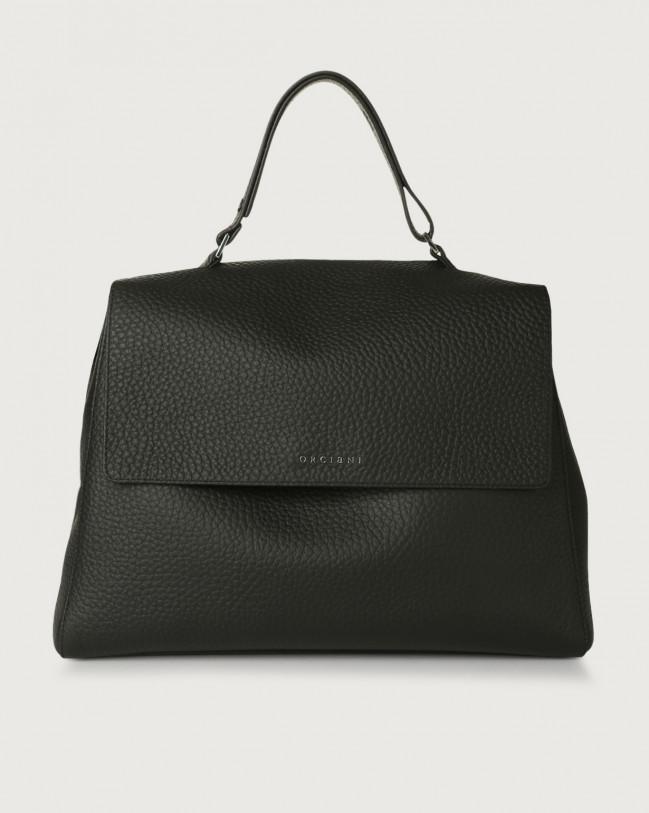 Orciani Sveva Soft large leather shoulder bag with strap Leather Black