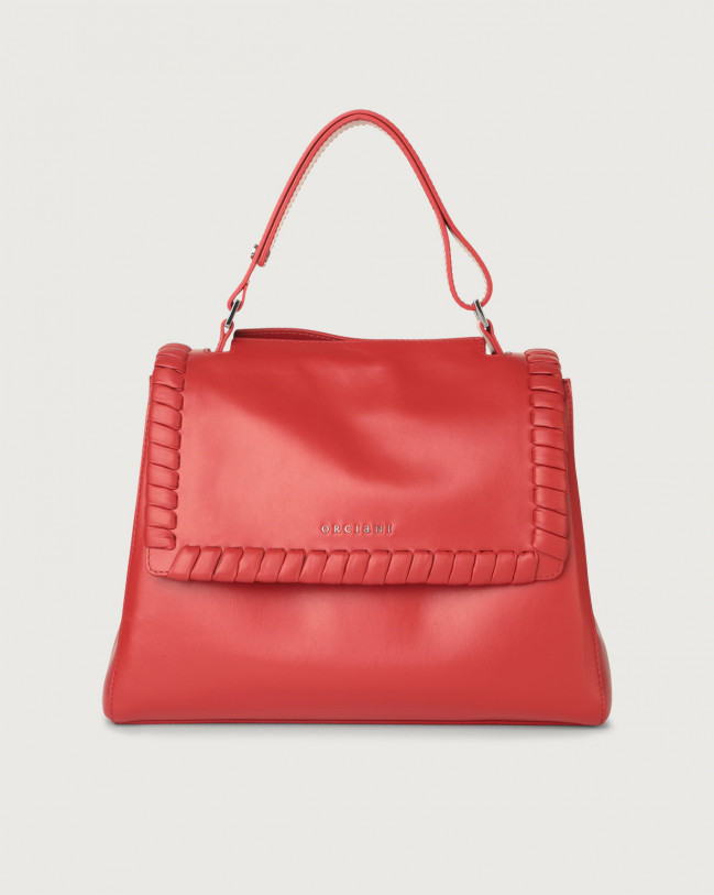 Orciani Sveva Liberty medium leather shoulder bag with strap Leather Red