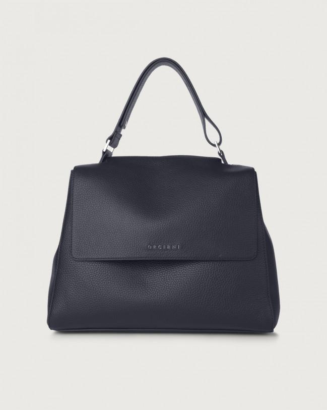 Orciani Sveva Micron medium leather shoulder bag with strap Leather Navy