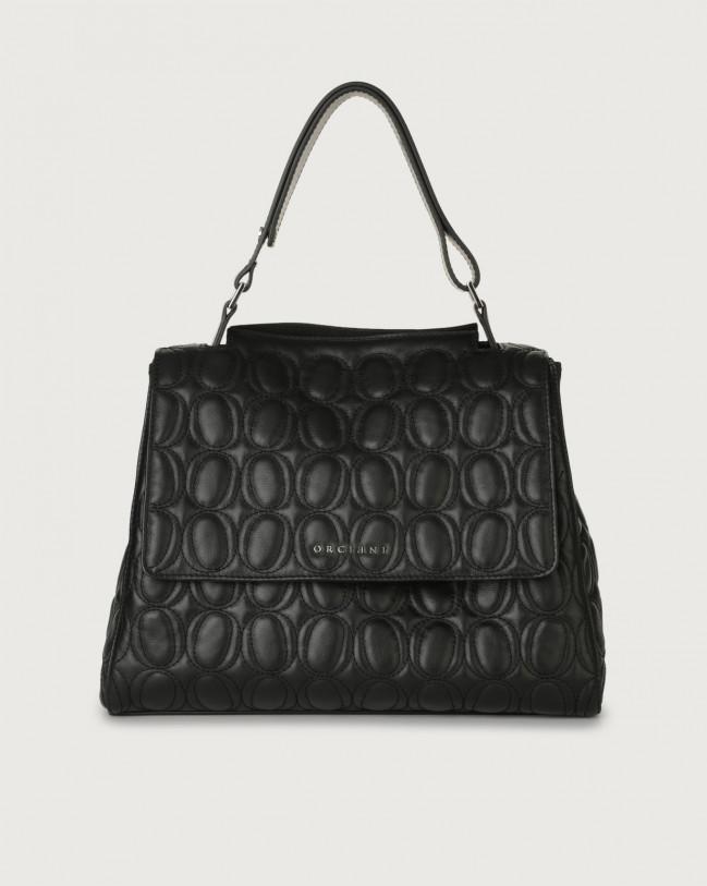 Orciani Sveva Matelassé medium leather shoulder bag with strap Leather Black